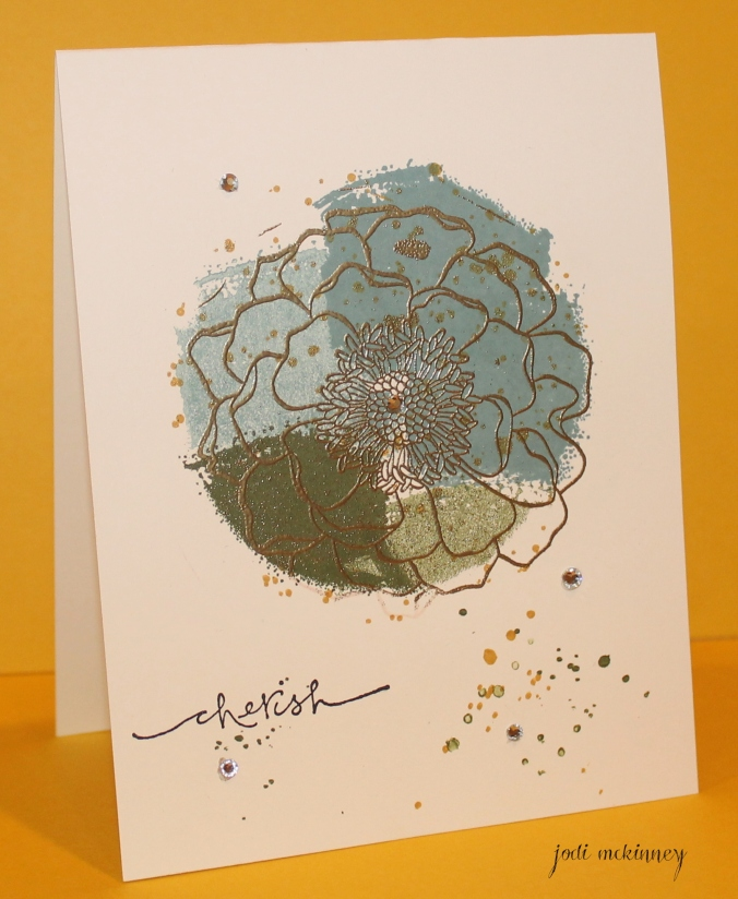 Work of art and gold embossed blended bloom with gorgeous grunge dots