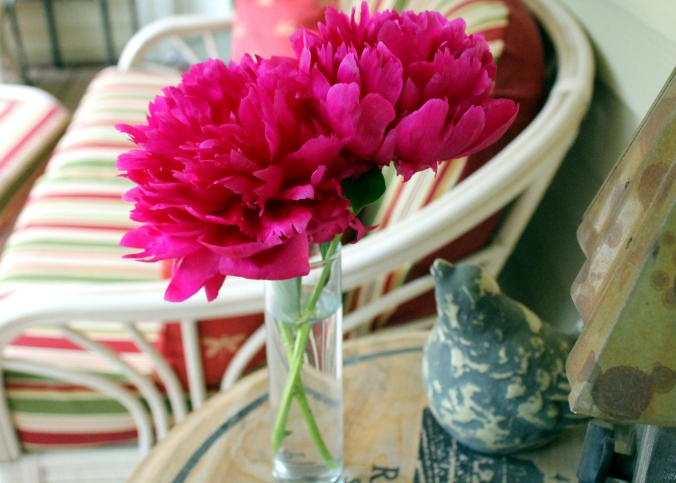 peonies on the porch