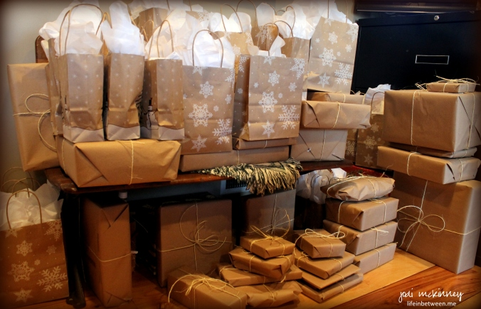 christmas brown paper packages and bags