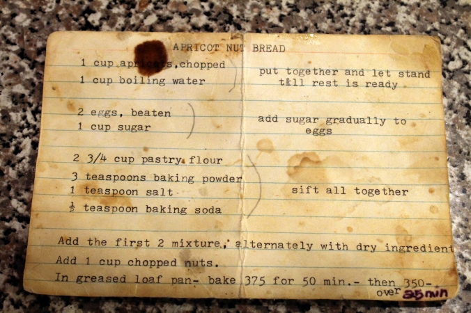 Grandmas Old Fashioned Apricot Nut Bread Recipe Card 1jpg