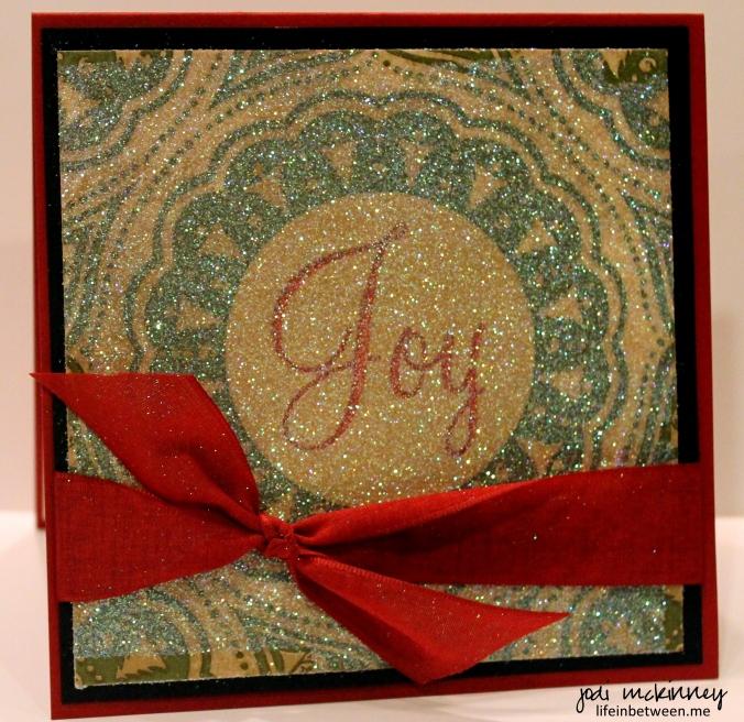 napkin glitter card joy