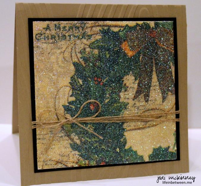 napkin glitter card merry christmas wreath