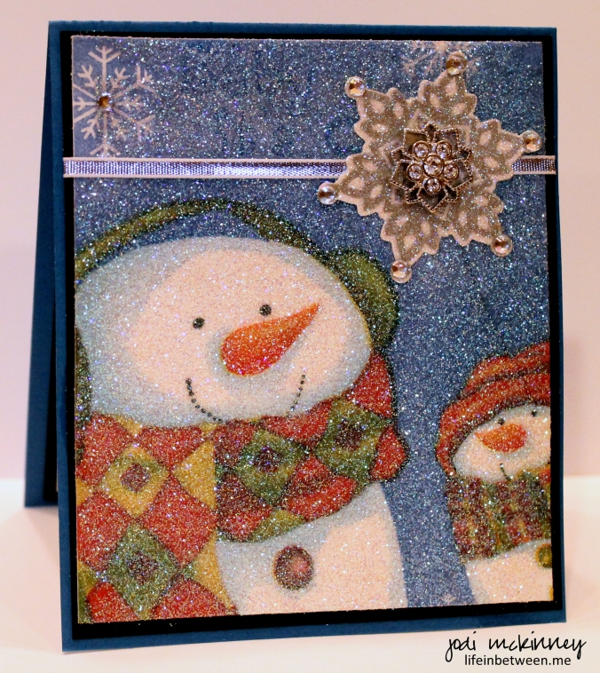 napkin glitter card snowman and snowflake