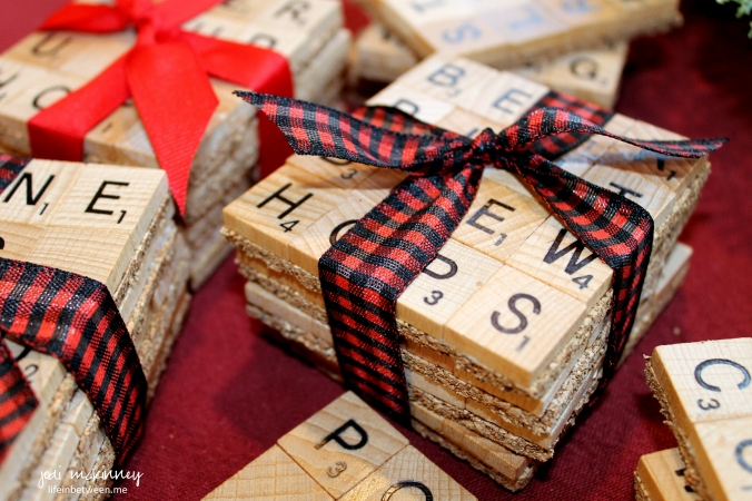 scrabble coasters bundled