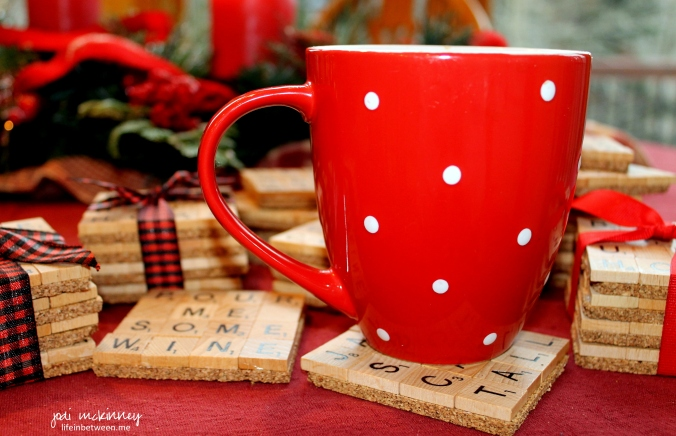 scrabble coasters coffee mug