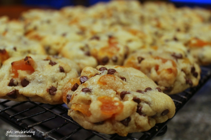 apricot chocolate chip cookies on rack
