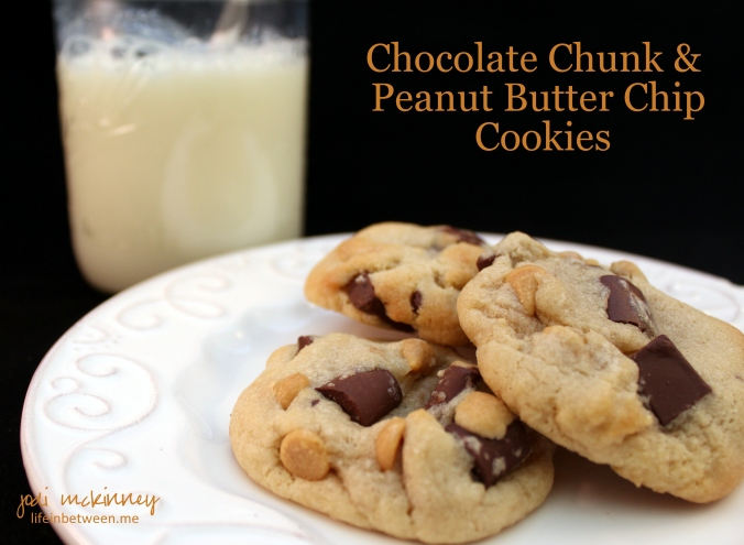 chocolate chunk and peanut butter chip cookies