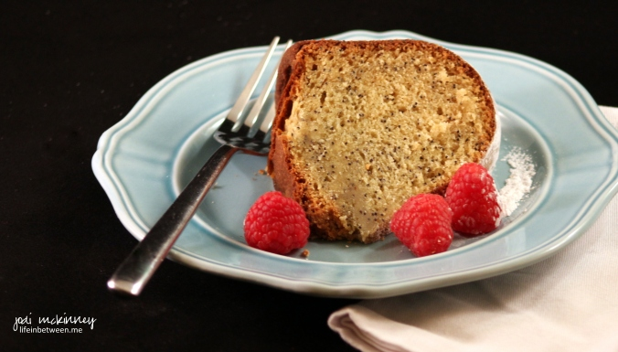 poppy seed cake slice