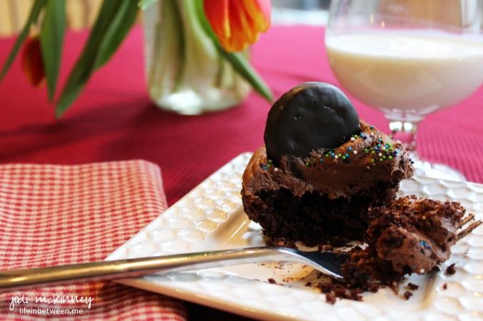 thin mint cupcake and milk