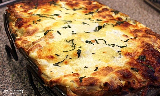 Chicken Caprese Lasagna pan