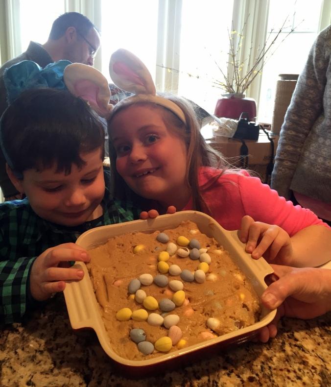 Mason and Ella making Cadbury Blondie Bars Easter 2015 Jodi