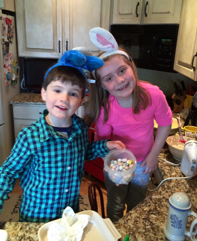 Mason and Ella making Cadbury Blondie Bars Easter 2015