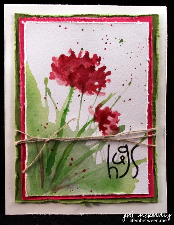too kind hugs watercolor card