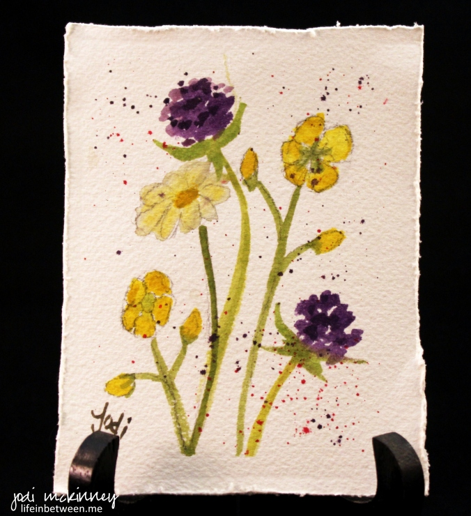 watercolor 3 clover daisy buttercups 0415