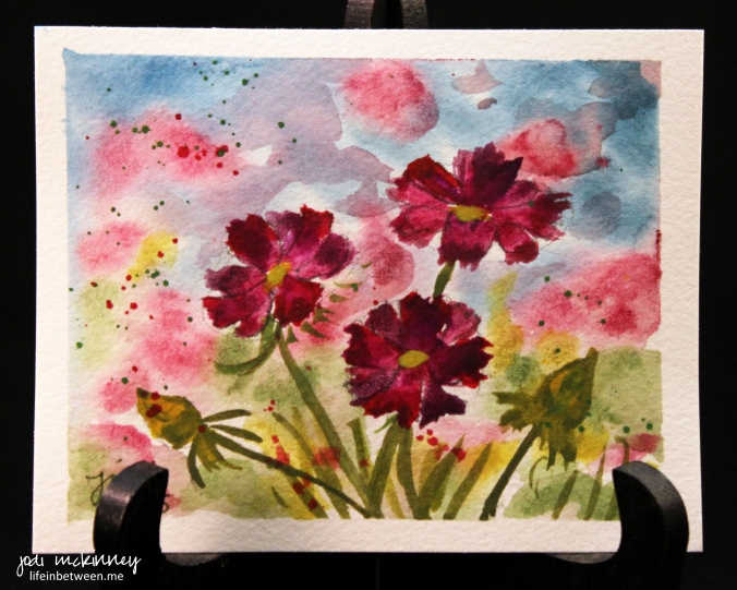 watercolor 5 magenta wildflowers in field 0415