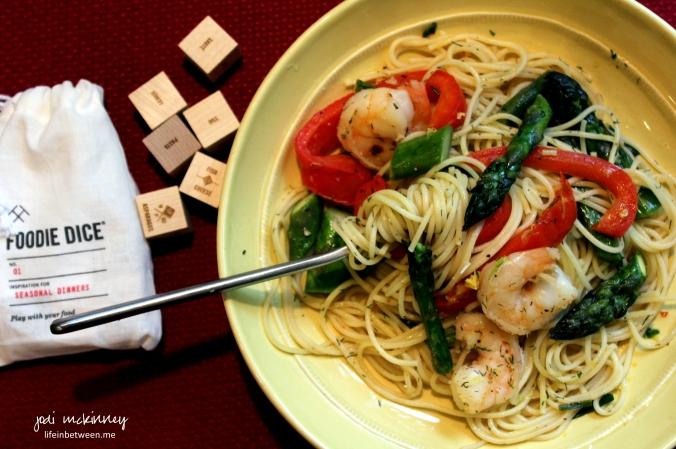 foodie dice shrimp asparagus pasta