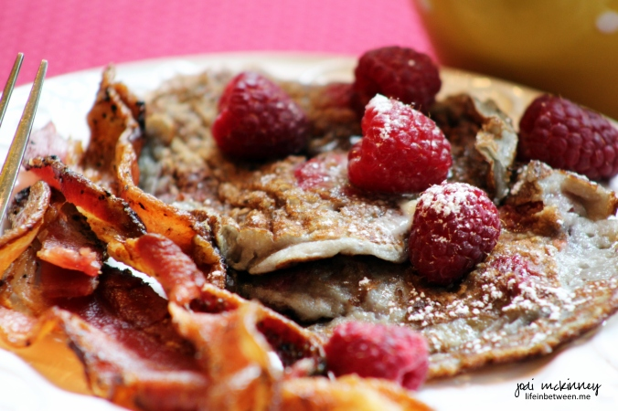 fresh red raspberry pancakes