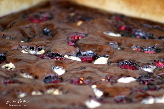 Fudgy Fresh Red Raspberry Chocolate Chip Brownies in Pan