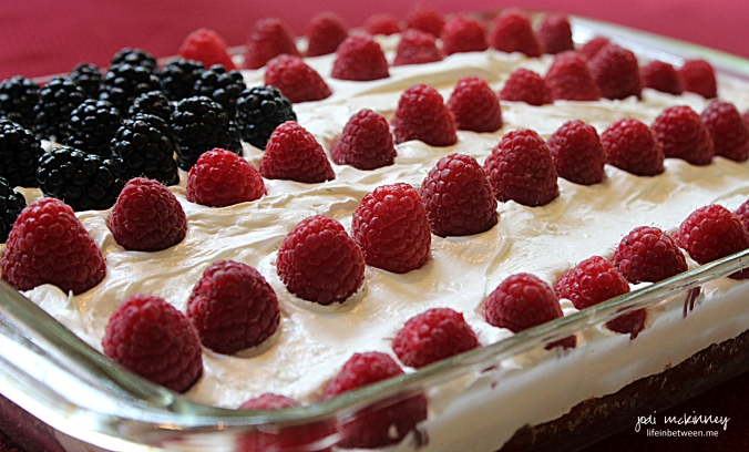 memorial day birthday cake red raspberries and blackberries
