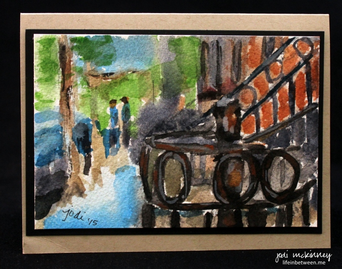 West Village New York Watercolor Rusty Railing Brownstone