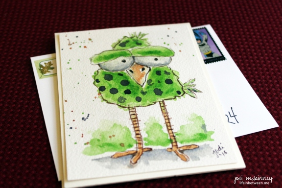 whimsical green and purple polka dot birdie watercolor card read to mail