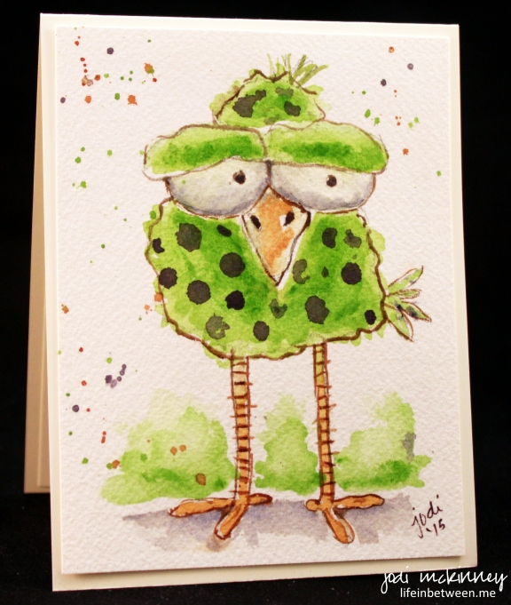 whimsical green and purple polka dot birdie watercolor card