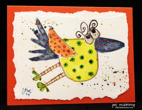 whimsical watercolor birdie card