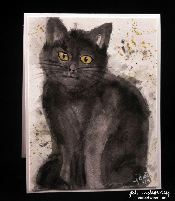 black cat watercolor card