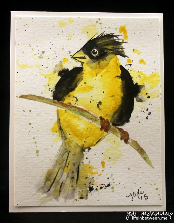 gold finch watercolor bad hair day
