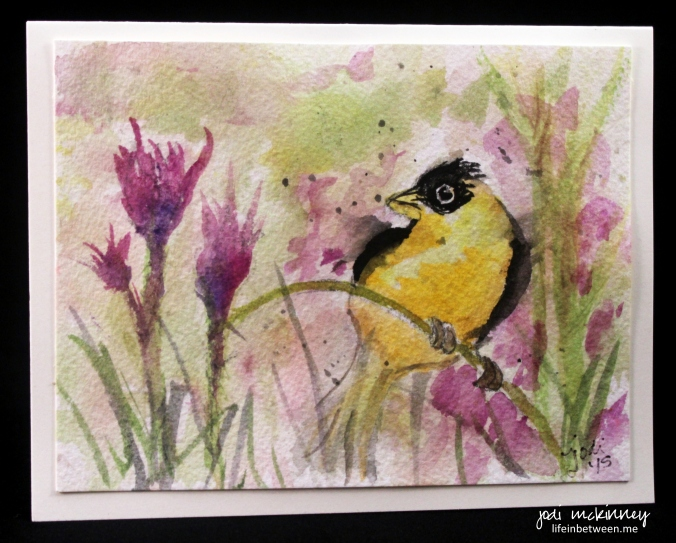 gold finch watercolor card