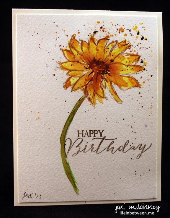 Liz Birthday Card Yellow Sunflower 2015
