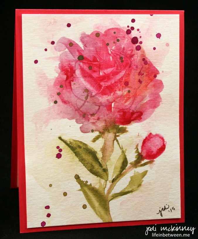 pink peony watercolor card