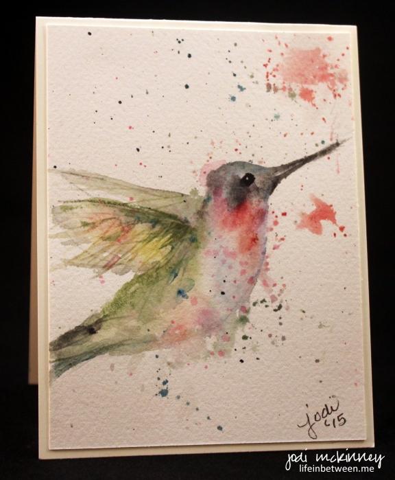 watercolor hummingbird card