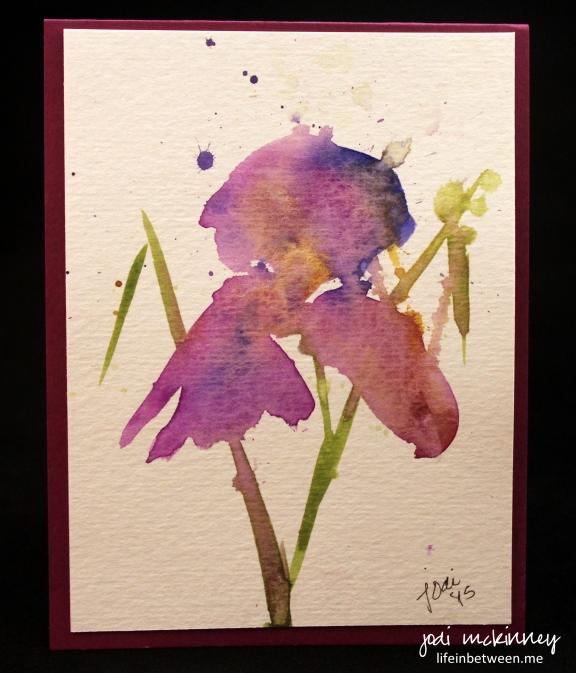 Watercolor Iris Card 1