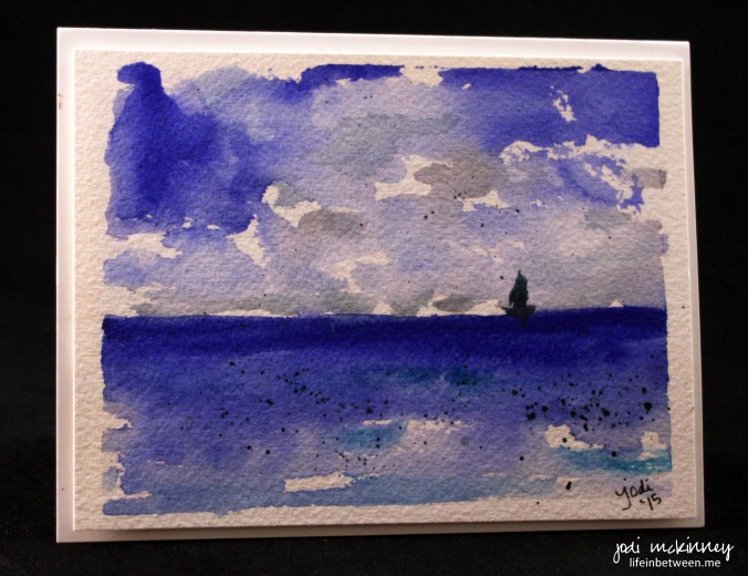ocean sail boat watercolor card