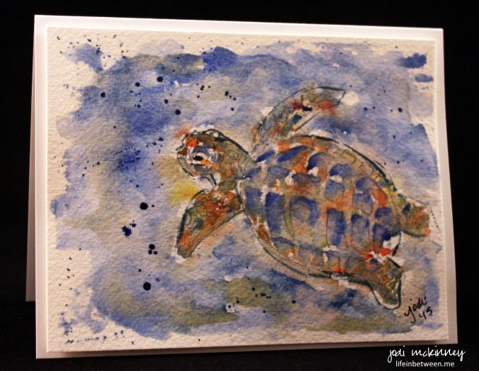 sea turtle watercolor card
