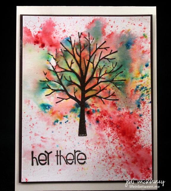 Sheltering Tree Spring Notecard Brusho