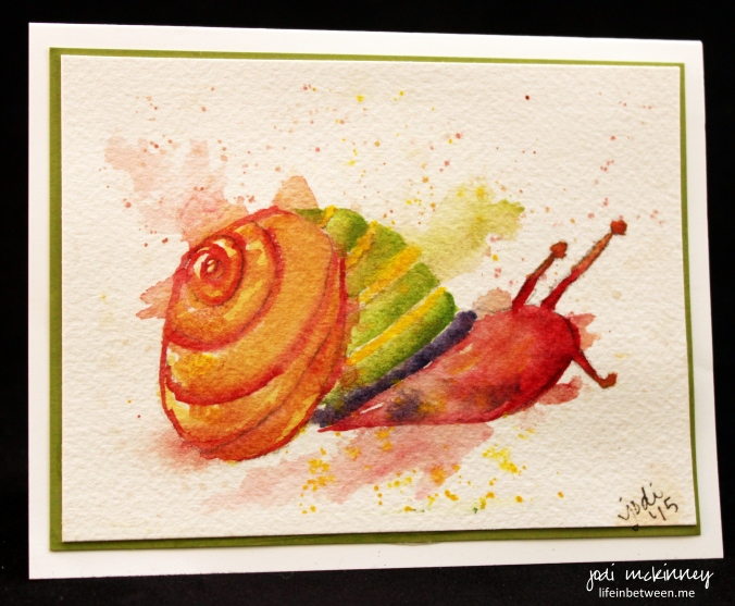 snail mail watercolor card
