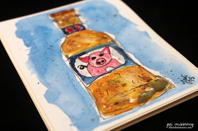 watercolor pork chop in every bottle of beer 2