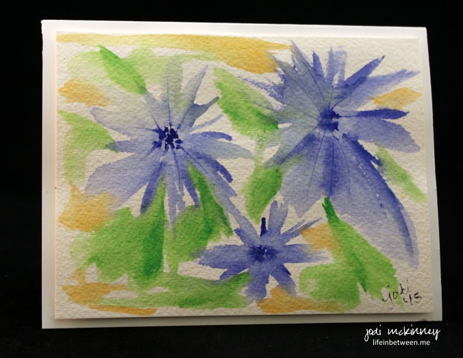 abstract purple watercolor flower card