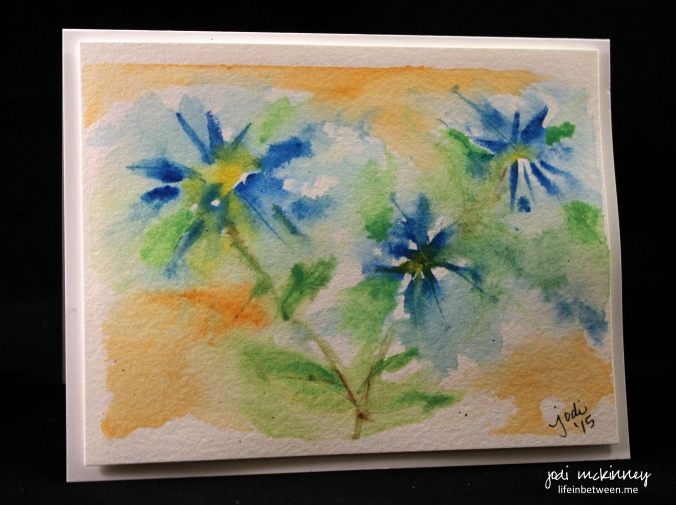 blue flower abstract watercolor card
