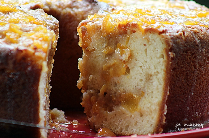peach coffee cake with brown butter glaze 2