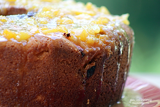 peach coffee cake with brown butter glaze