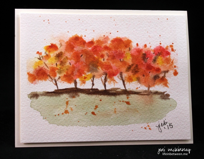 autumn trees watercolor card