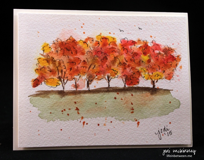 autumn trees watercolor doodle card