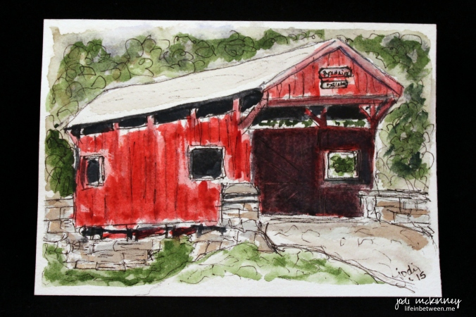 covered bridge watercolor doodlewash