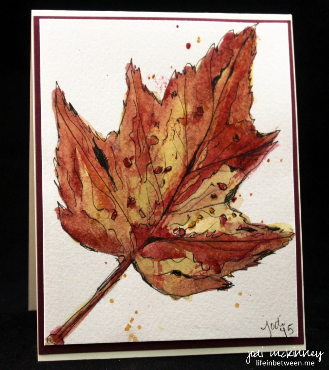 Fall Leave Doodlewash Watercolor Card 091315