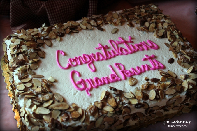 grandparent shower burnt almond torte cake