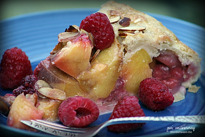 peach raspberry galette slice