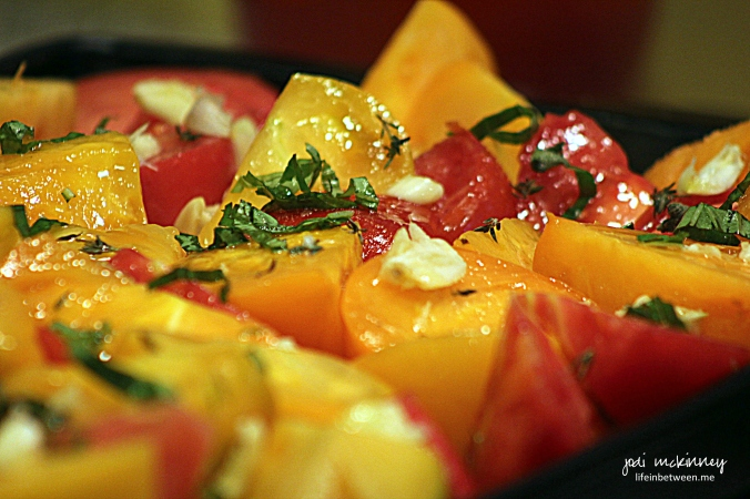 Roasting Heirloom tomatoes close up
